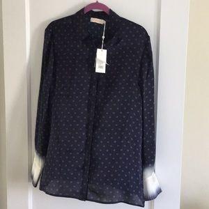 NWT Tory Burch silk blouse shibori Tory navy sz 14